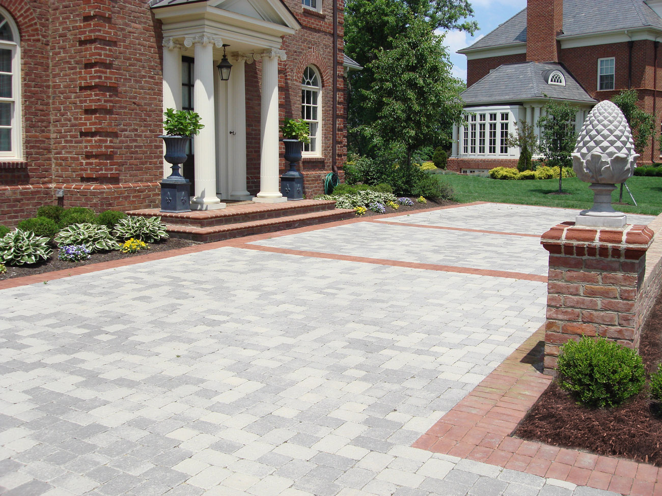 ... front yard paver driveway with landscape by landscape designer ... - Landscaping Landscape Architect Landscape