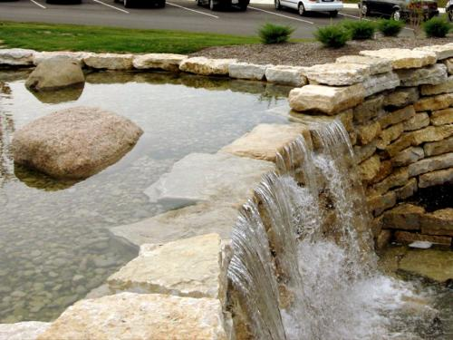 Commercial Landscaping Columbus Ohio Man Made Waterfall Installation
