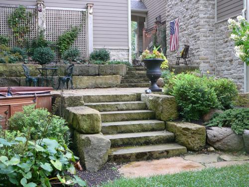 exteror steps with garden by landscape designer