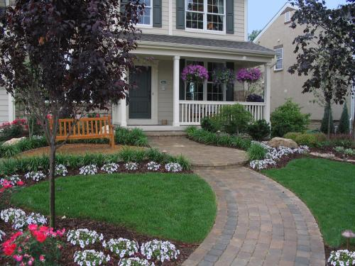 front yard with landscape by landscape designer